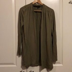 Olive Green Open Front Cardigan.